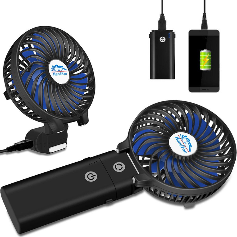 HandFan Portable Handheld Fan, Mini Hand Fan/Small Desk Fan Folding Change 5-18 Hours Working Time Personal Fan Rechargeable Battery/USB Operated Electric Fan Handle is 5200mA Power Bank(Power Black) by HandFan