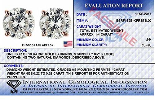 IGI Certified Diamond Stud Earrings for Women Set in 10K Rose Gold, (Clarity I2I3) by Diamond Hub (Image #5)