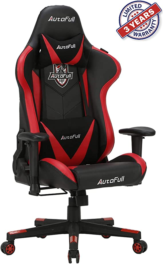 AutoFull Gaming Chair Ergonomic Video Gaming Office Chair PU Leather Bucket Seat Racing Desk Red Chairs with Lumbar Support (3-Years Warranty)