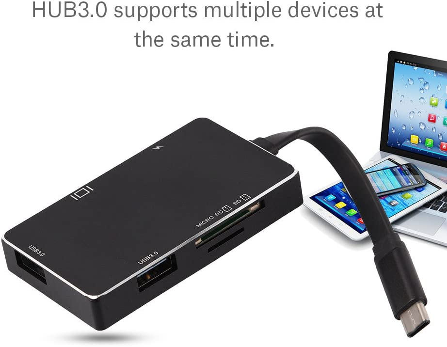 Black Type-C to 4K HDMI PD Charge HUB Adapter USB-C 3.1 Converter SD//TF Card Reader for MacBook