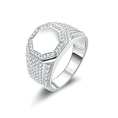 (compromiso anillos) Adisaer plata anillos para hombre boda bandas polígono Circonita: Amazon.es: Joyería