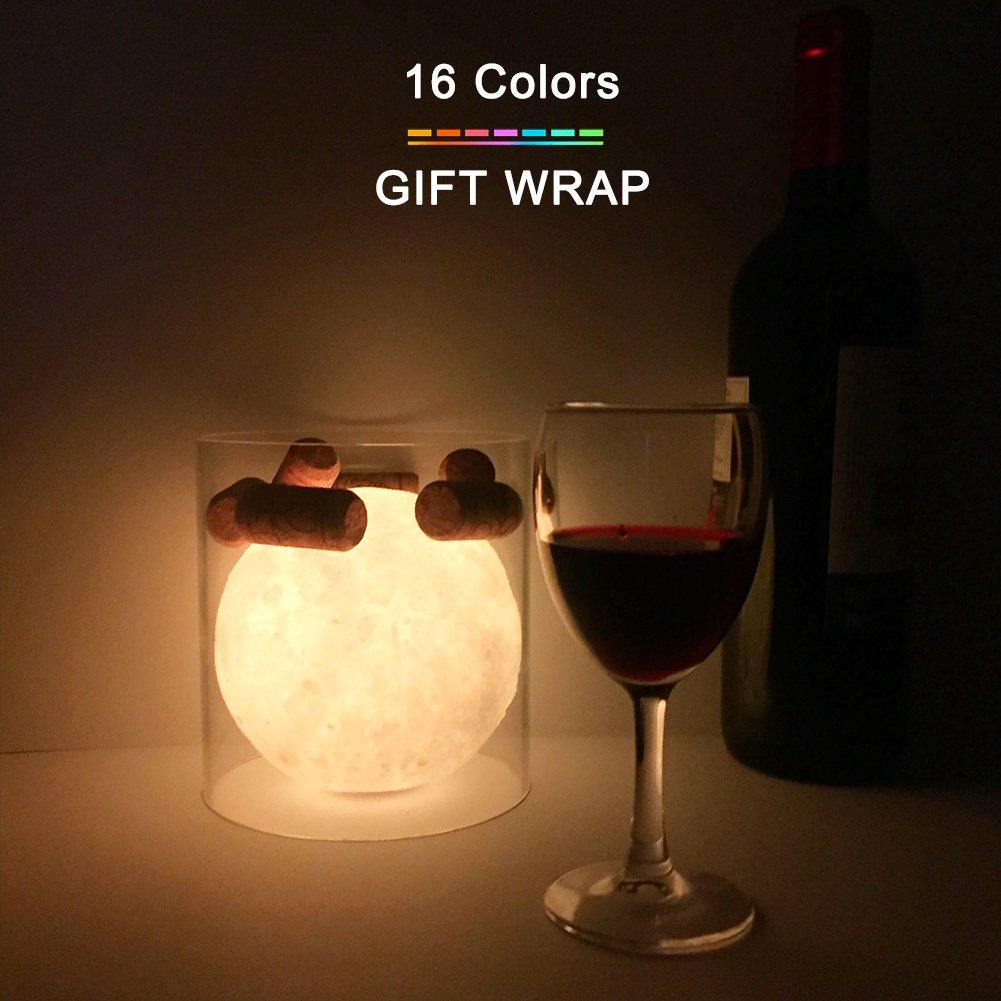 Moon Lamp LED 16色変更リモートとタッチコントロールMoonライト装飾、照明、ストレージで瞑想、一意ギフトボックス2018お気に入りギフトUSB充電( 4.7インチ用) B079DLHLZN 20992