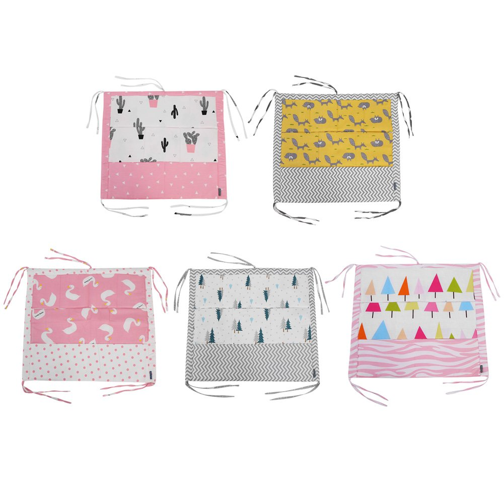 Baby Crib Hanging Storage Bag with 9 Pockets Baby Cot Toy Diaper Organizer Cotton Fabric with Foam Stuffing Crib Closet Extender (Cactus) Fdit