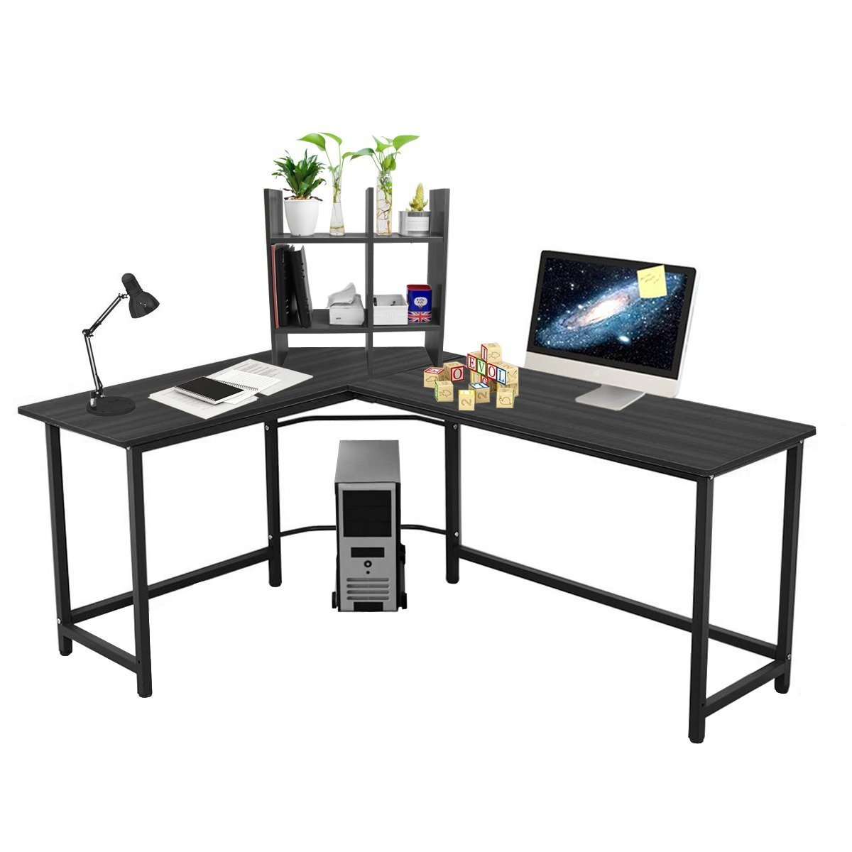 Amazon.com: L Shaped Large Computer Desk Table Office Laptop PC Workstation  With Free CUP Stand And Storage Shelf (Black): Kitchen U0026 Dining