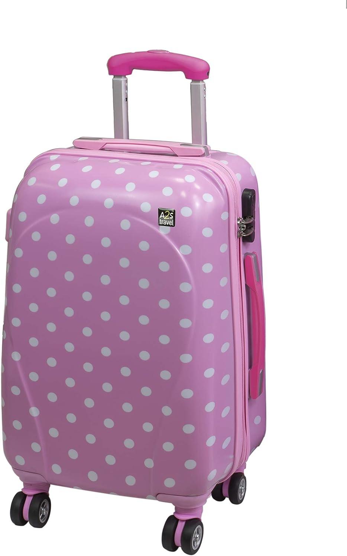 A2s Equipaje cabina maleta ligera y duradera maleta de cáscara dura con 8 ruedas giratorias llevar bolso (aviones) Lunares rosa 55x35x20cm