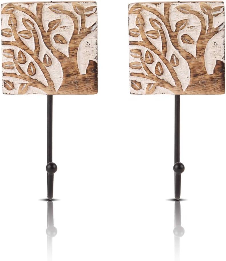 Juego de 2 perchas decorativas de madera y hierro fundido, estilo vintage, rústico, para colgar en la pared, chaqueta, bata, toalla, puerta perchero para pasillo, sala de estar, entrada, dormitorio