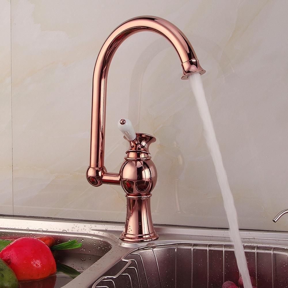 BiuTeFang Red bronze mix faucet kitchen home 360 ° rotating vegetable sink sink faucet single hole faucet