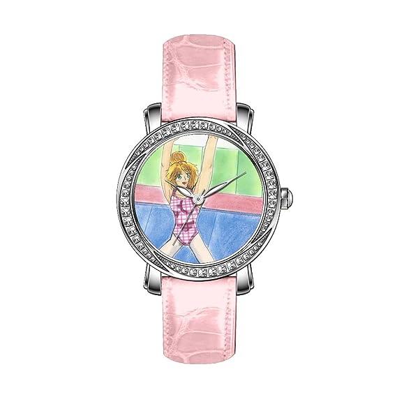 ... de Swarovski Plata Acero Inoxidable Reloj con rosa correa de piel reloj impresionante entrenamiento gimnasia Ran Rhinestone reloj: Amazon.es: Relojes