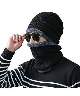 Rovtop 2 Pezzi Cappello + Sciarpa Berreto Uomo Invernale Uomo Cappello e Uomo Sciarpa in Maglia per Sci Esterno
