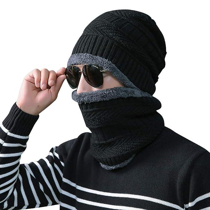 Rovtop 2 Pezzi Cappello + Sciarpa Berreto Uomo Invernale Uomo Cappello e  Uomo Sciarpa in Maglia per Sci Esterno  Amazon.it  Abbigliamento 65c6015f777e