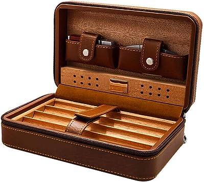 Estuche de piel para cigarros con humidificador de madera portátil de cuero para encendedor de cigarrillos, humidificador con tijeras: Amazon.es: Salud y cuidado personal
