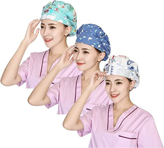 1pc Fashion Printed Adjustable Strap Working Cap Nurse Cap Cotton Hat for Nurses