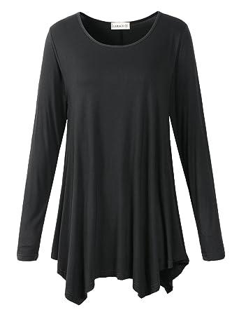 aac8a800ec4 LARACE Womens Long Sleeve Flattering Comfy Tunic Loose Fit Flowy Top ...