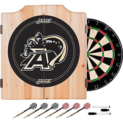 US Army West Point Academy Deluxe Solid Wood Cabinet Complete Dart Set - Officially Licensed! by TMG