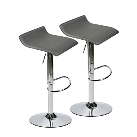 Pleasing Set Of 2 Adjustable Swivel Barstools Pu Leather With Chrome Base Gaslift Pub Counter Chairs Grey Caraccident5 Cool Chair Designs And Ideas Caraccident5Info