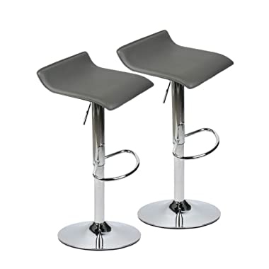 Set of 2 Adjustable Swivel Barstools, PU Leather with Chrome Base, Gaslift Pub Counter Chairs,Grey