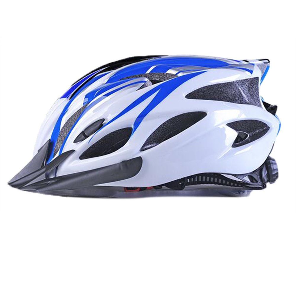 Uzexon Casco ciclista de ciclismo de MTB (18 aberturas), adultos Casco ligero unisex de bicicleta con visera desmontable y forro suave, sistema de rueda ajustable (Blanco/Azul)