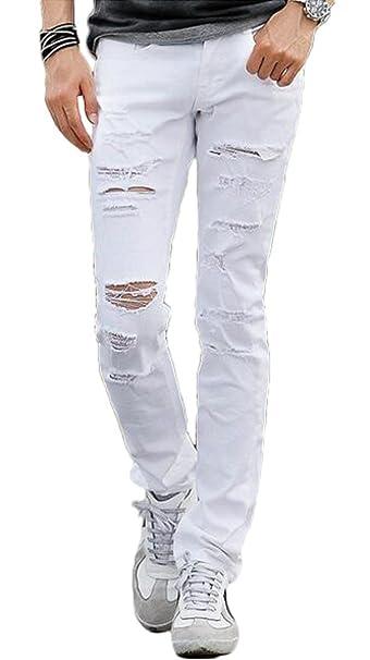 deiop pantalones vaqueros para hombre blanco envejecido ...