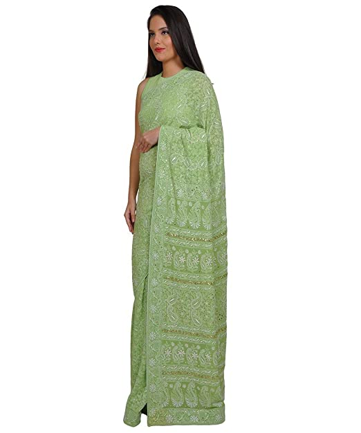 Talking Threads Georgette Chikankari Embroidered Saree available at Amazon for Rs.49950