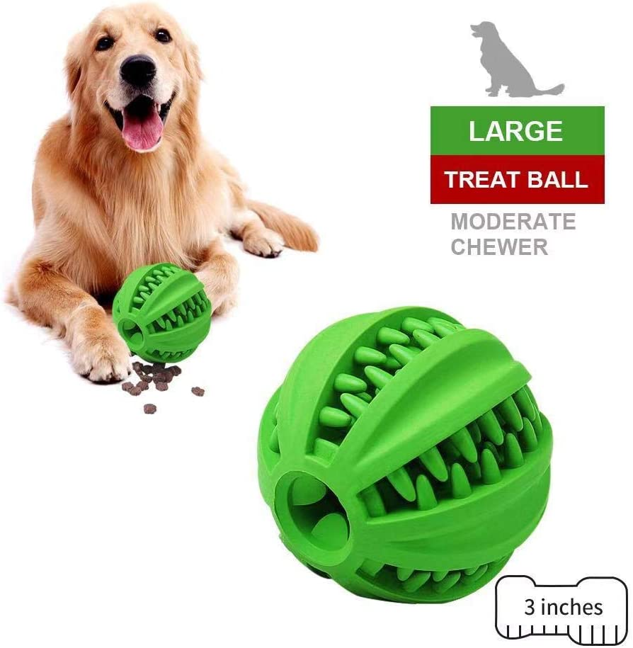 EETOYS IQ Dog Treat Ball – Interactive Treat Dispensing Dog Toy Non Toxic Rubber Dog Ball Slow Feeding Food Dispensing Dog Toy Reduce Boredom Teething Toy for Small Medium Dogs