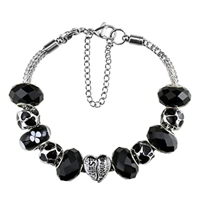 Amazon Com White Birch Silver Plated Crystal Charm Bracelet With