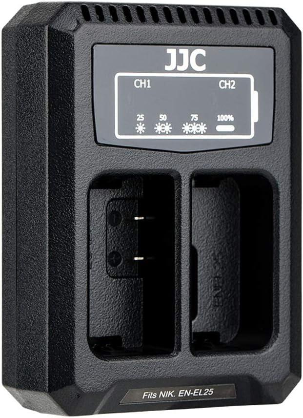 JJC Cargador de Bater/ía Dual USB para Nikon Z50 C/ámara sin Espejo Dise/ñado para la Bater/ía Nikon EN-EL25