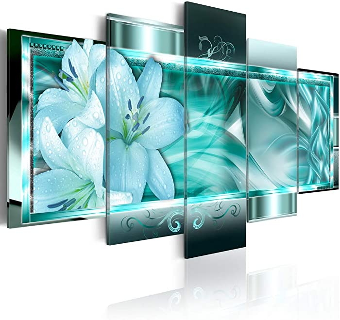 Large Turquoise Flower Canvas Art Azure Dream Modern Wall Decor Painting Abstract Floral Artwork