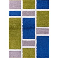 Well Woven Madison Shag Geo Concept Green Blue Modern Geometric Area Rug 33 X 53