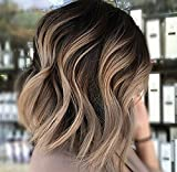 Full Shine 8'' Short Wavy Hair Wig Front Lace Bob Wig For Women Color Off Black Fading to Color #18 Ash Blonde Ombre Balayage 100 Human Wig Hair With Baby Hair Grade 7A Brazilian Remy Human Hair