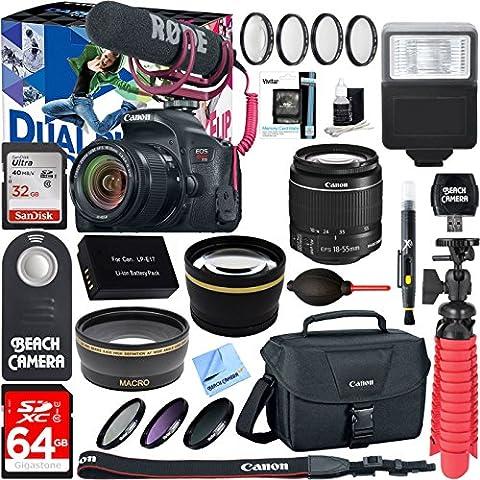 Canon EOS Rebel T7i Digital SLR Camera Video Creator Kit + 18-55mm Zoom Lens Accessory Bundle - Canon Digital Rebel Kit