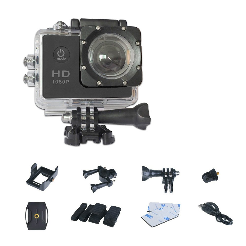 Mengshen 1080P Action Camera, Mini Waterproof Sport DV with 2 Inch TFT LCD and 120°Wide Angle Lens for Beach/Adventure/Hiking 510C3 Black by Mengshen