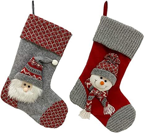 Large Merry Christmas Stocking Snowman Santa Claus Xmas Holiday Decor Gift Bag
