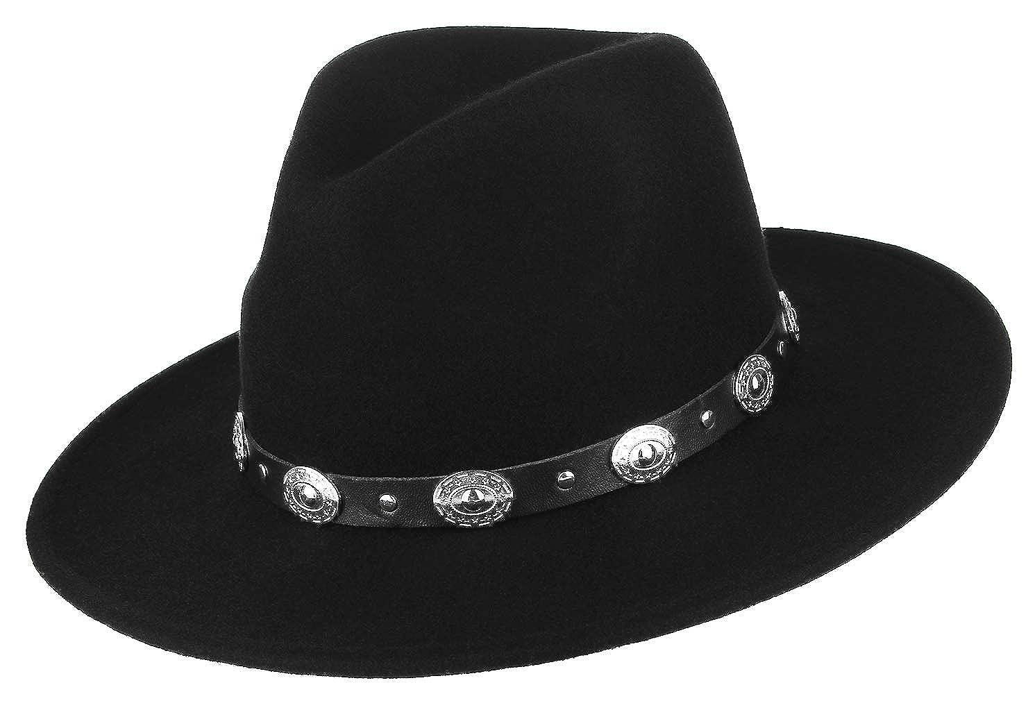 GEMVIE Men Wide Brim Hat 100/% Wool Dress Crushable Fedora Hats Gangster Derby