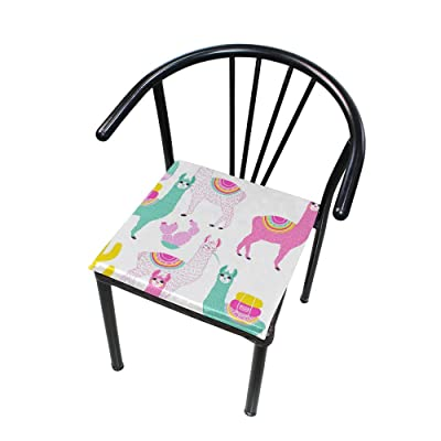 """Bardic HNTGHX Outdoor/Indoor Chair Cushion Colorful Alpaca Pattern Square Memory Foam Seat Pads Cushion for Patio Dining, 16"""" x 16"""": Home & Kitchen"""