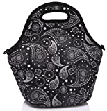 Vaschy Neoprene Insulated Lunch Tote Bag for Women Girls with Detachable Adjustable Shoulder Strap for Work in Paisley Clover Pattern