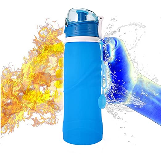 UPmall Collapsible Water Bottle - 750ml, Silica Gel, Medical Grade, BPA Free, FDA Approved, Leak Proof Silicone Foldable Sports Bottle, for Sports, Outdoor, Travel, Camping, Picnic(26 oz, Blue)