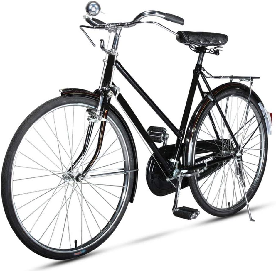 EEKUY Bicicleta de Ciudad Retro, Soporte de Bicicleta de Metal Bicicleta de Freno de Varilla Antigua Bicicleta de una Velocidad Neumático de 26 Pulgadas
