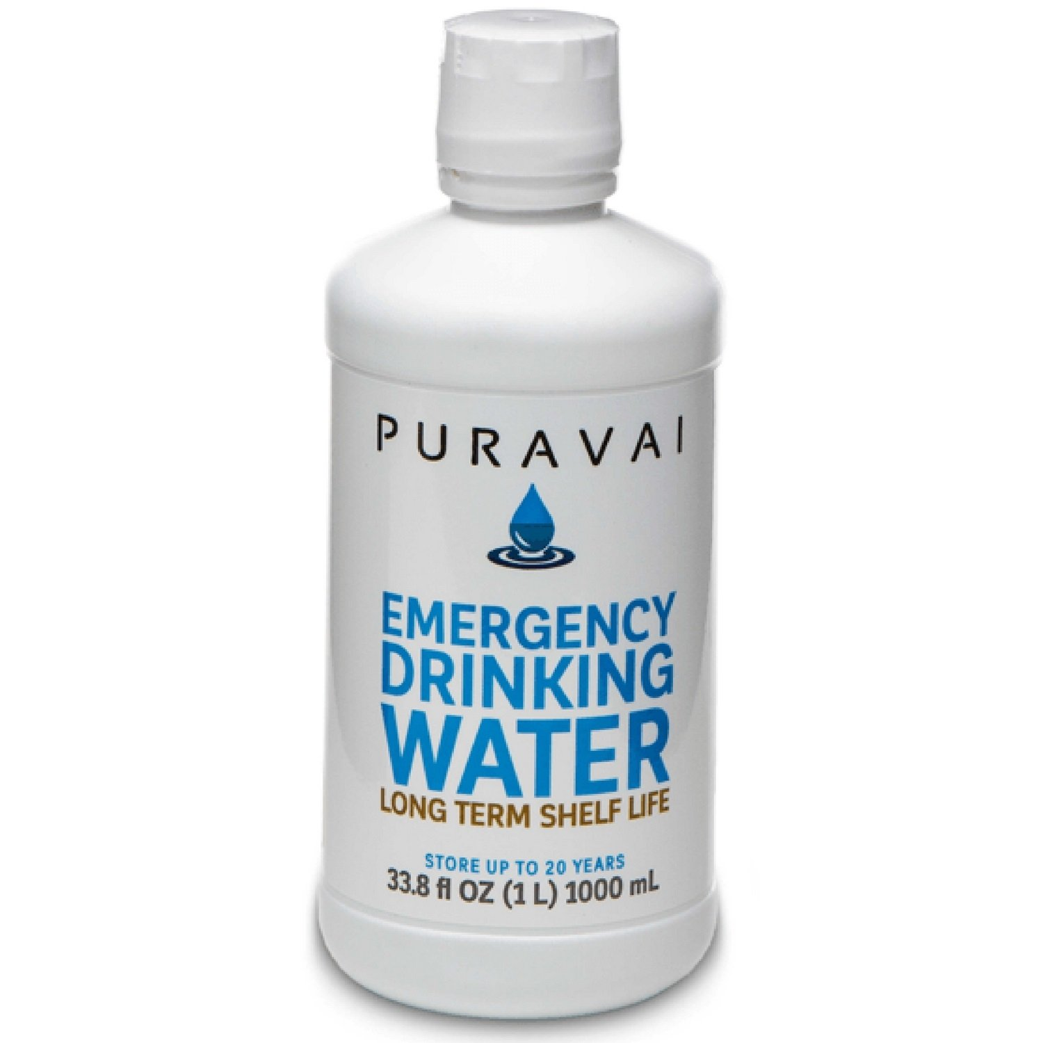 Puravai Emergency Drinking Water, 100% Bacteria Free Drinking Water, Purified Emergency Water, 20 Year Shelf Life, Long Term Water Storage, 12-Pack of 1 Liter Bottles, Sturdy Reusable Canteen Bottles by Puravai