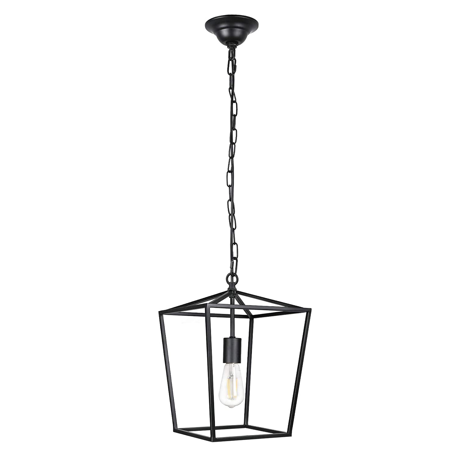 Paragon Home Pendant Light Hanging Lantern Lighting Fixture for Kitchen and Dining Room, Industrial Retro Iron Chandelier Fixture,E26 Base, Black (Bulbs Not Included)