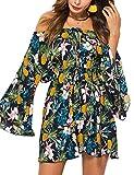 Meland Women's Floral Pleated Waist Off Shoulder Mini Dress with Flutter Sleeves (Deep Blue/Pineapple Pattern) - Medium (US 4-6)