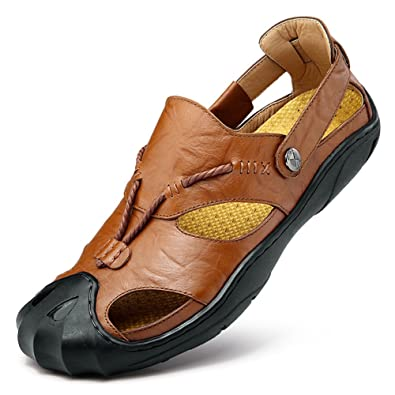 f4c6d967c5b7 Orlasha Mens Sports Sandals Leather Fisherman Sandals Closed Toe Summer  Outdoor Beach Shoes Water Slippers Brown