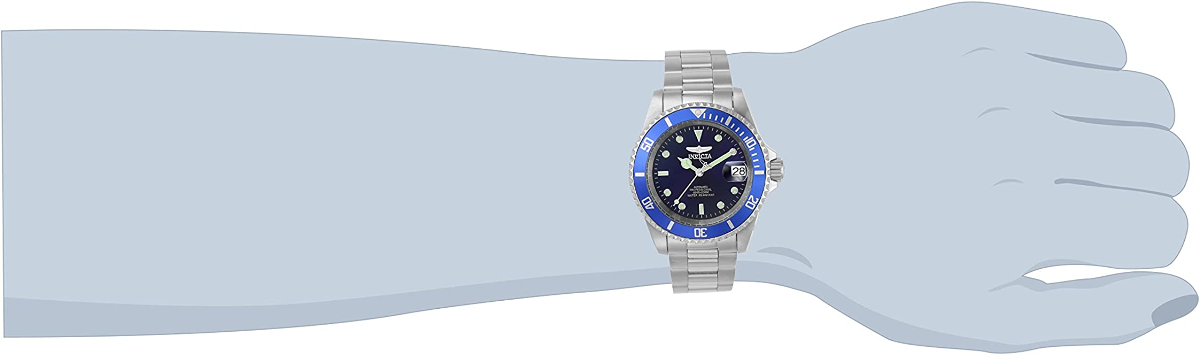 Invicta Men 9094OB Pro Diver Collection Stainless Steel Watch with Link Bracelet SilverBlue
