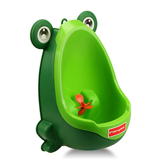 Foryee Cute Frog Potty Training Urinal for Boys with Funny Aiming Target - Blackish Green