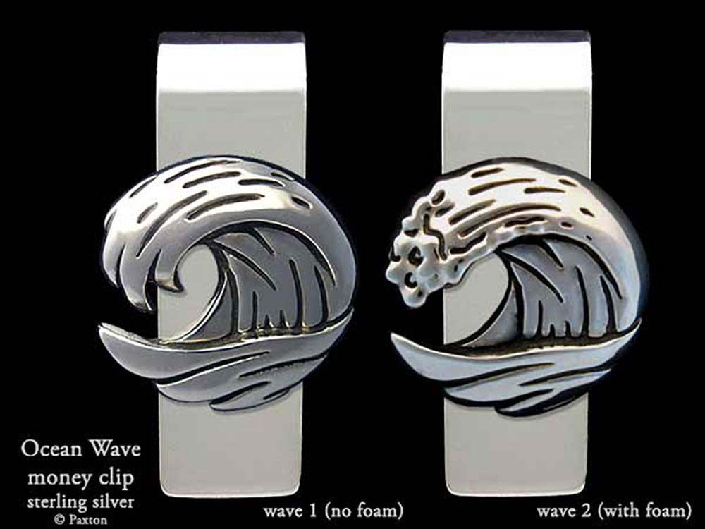 Ocean Wave Money Clip in Solid Sterling Silver Hand Carved, Cast & Fabricated by Paxton