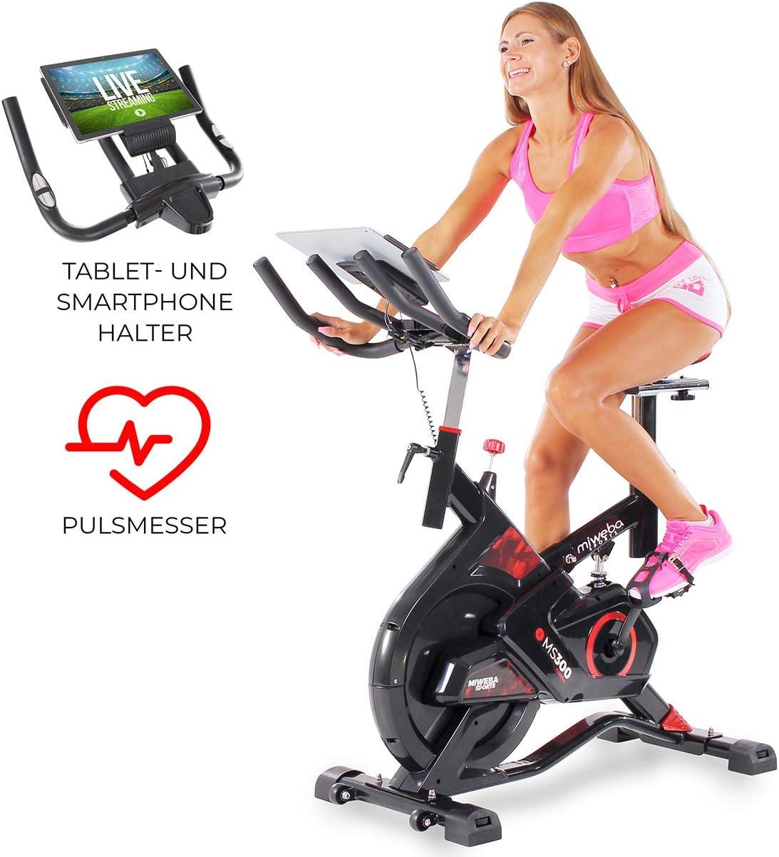 Miweba Sports MS300 - Bicicleta estática Profesional, 13 kg, Masa oscilante, Amortiguador, Soporte para Tablet, Negro: Amazon.es: Deportes y aire libre