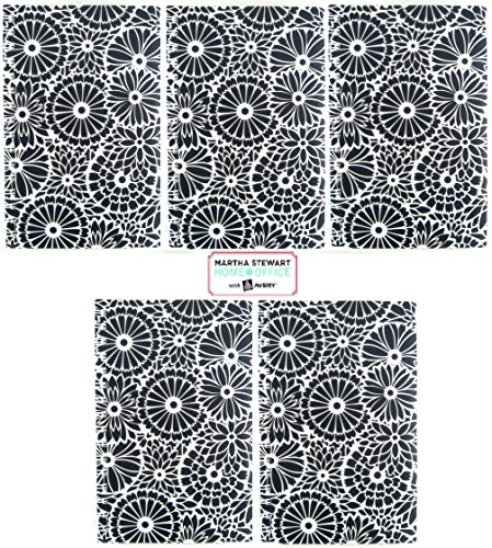 "5 Pk, Martha Stewart Home OfficeTM with AveryTM Floral Notebook, Black, 5-1/2"" X 8-1/2"""