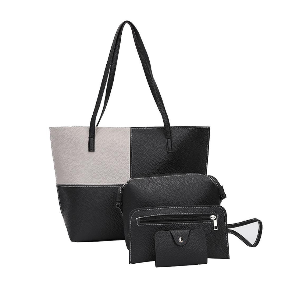 VESNIBA Women Girl Four Sets Backpack Handbag Shoulder Bags Four Pieces Tote Bag Crossbody (Gray 1)