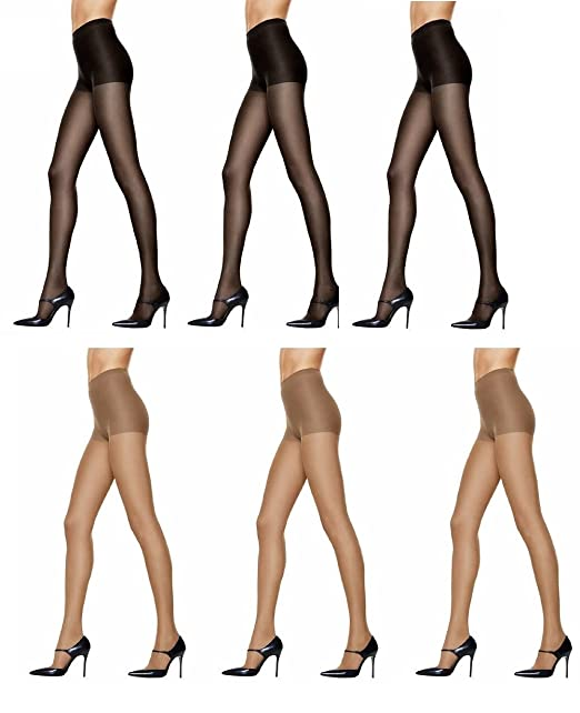 3766b08431a Hanes Women s Silk Reflections Control Top Pantyhose (3 Pair Black - 3 Pair  Sheer)