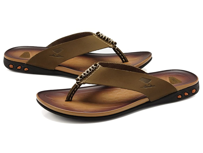 DQQ Tanga Playa flip flop sandalias de piel Para Hombre, color Marrón, talla 41 1/3