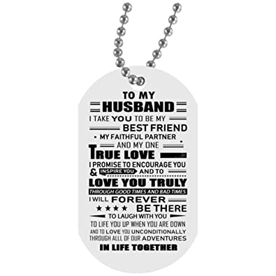 Amazon My Husband Dog Tag With Chain Wife And Husband